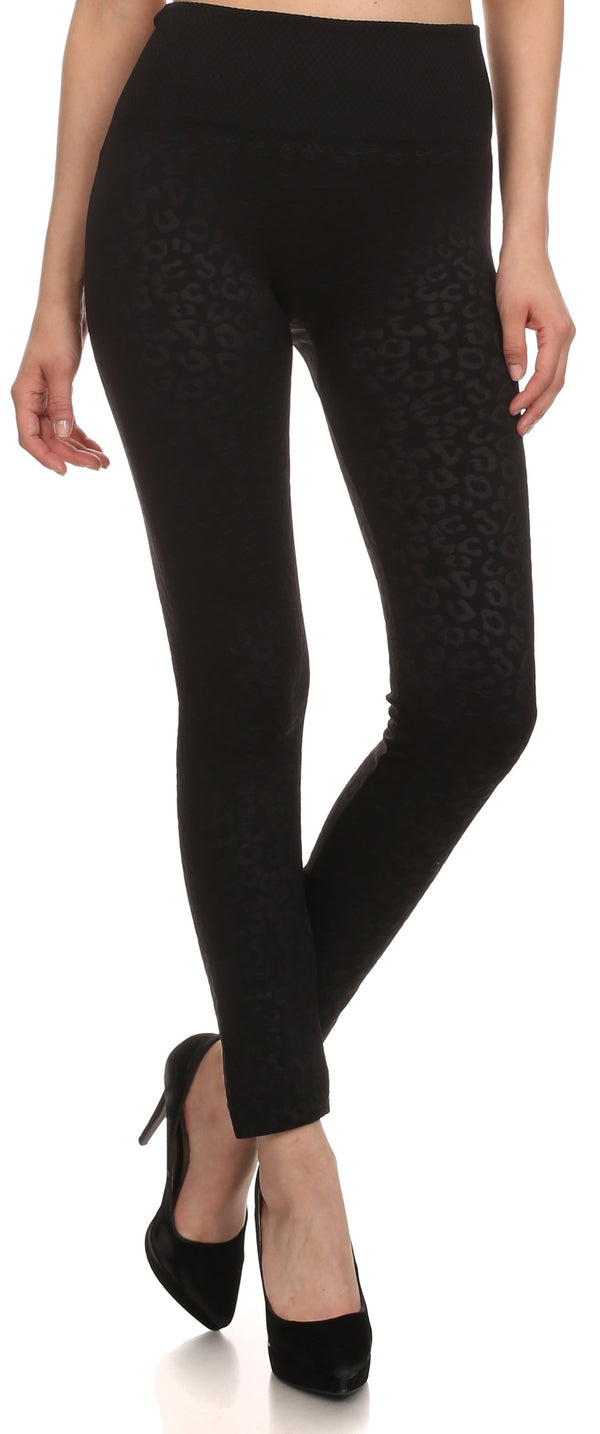 Sakkas Women's Patterned Soft Fleece Lined High Waist Leggings#color_ Black
