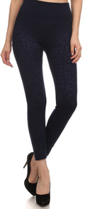 Sakkas Women's Patterned Soft Fleece Lined High Waist Leggings#color_ Navy