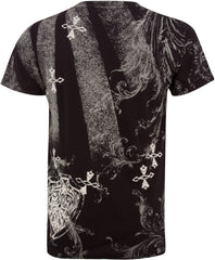 Cross and Vines Short Sleeve V-Neck Cotton Mens Fashion T-Shirt