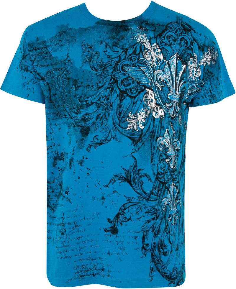 Sakkas Vines and Fleur De Lis Metallic Silver Embossed Cotton Mens T-Shirt