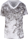 Sakkas Vines and Fleur De Lis Metallic Silver Embossed V-Neck Mens T-Shirt