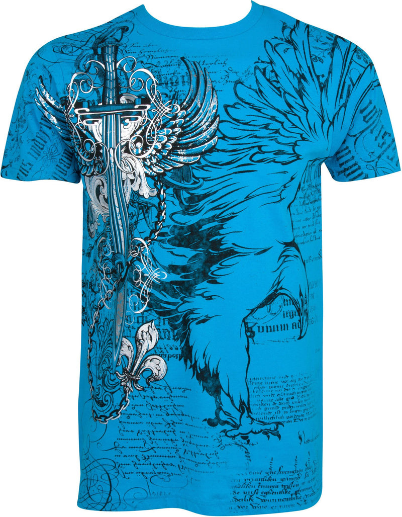 Sakkas Eagle,Sword and Chains Metallic Silver Embossed Cotton Mens T-Shirt