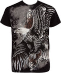 Sakkas Flying Eagle Metallic Silver Embossed Cotton Mens Fashion T-Shirt