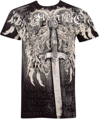 Sword Metallic Silver Embossed Short Sleeve Crew Neck Cotton Mens Fashion T-Shirt