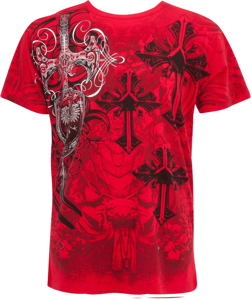 Sakkas Cross, Sword and Shield Metallic Silver Embossed Cotton Mens T-Shirt