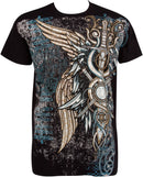 Sakkas Wings and Swords Metallic Silver Embossed Cotton Mens Fashion T-Shirt