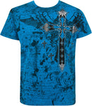 Metallic Silver Embossed Cross Short Sleeve Crew Neck Cotton Mens Fashion T-Shirt
