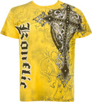 Sakkas Cross Metallic Silver Accents Cotton Mens Fashion T-Shirt