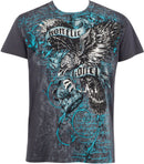 Sakkas Eagle Clutching Crown Metallic Silver Embossed Cotton Mens T-Shirt