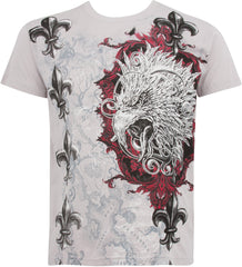 Sakkas Eagle Head and Fleur de Lis Metallic Silver Embossed Cotton Mens T-Shirt