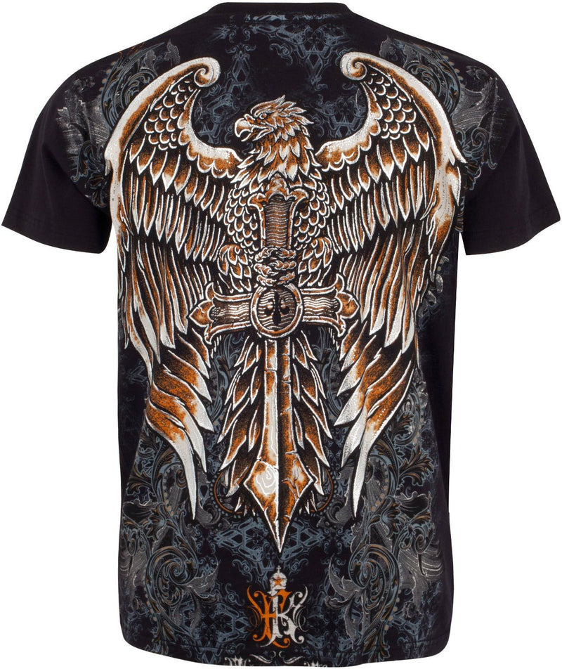 Sakkas Eagle Perched on a Sword Metallic Silver Embossed Cotton Mens T-Shirt