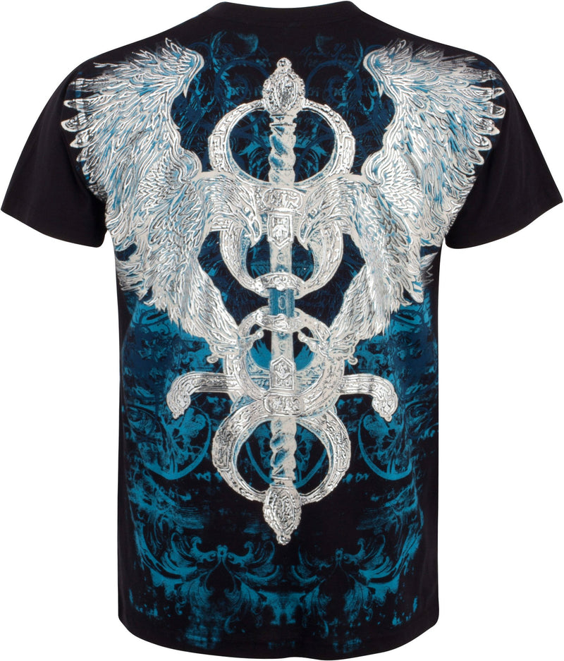 Sakkas Eagle and Sword Metallic Silver Embossed Cotton Mens Fashion T-Shirt