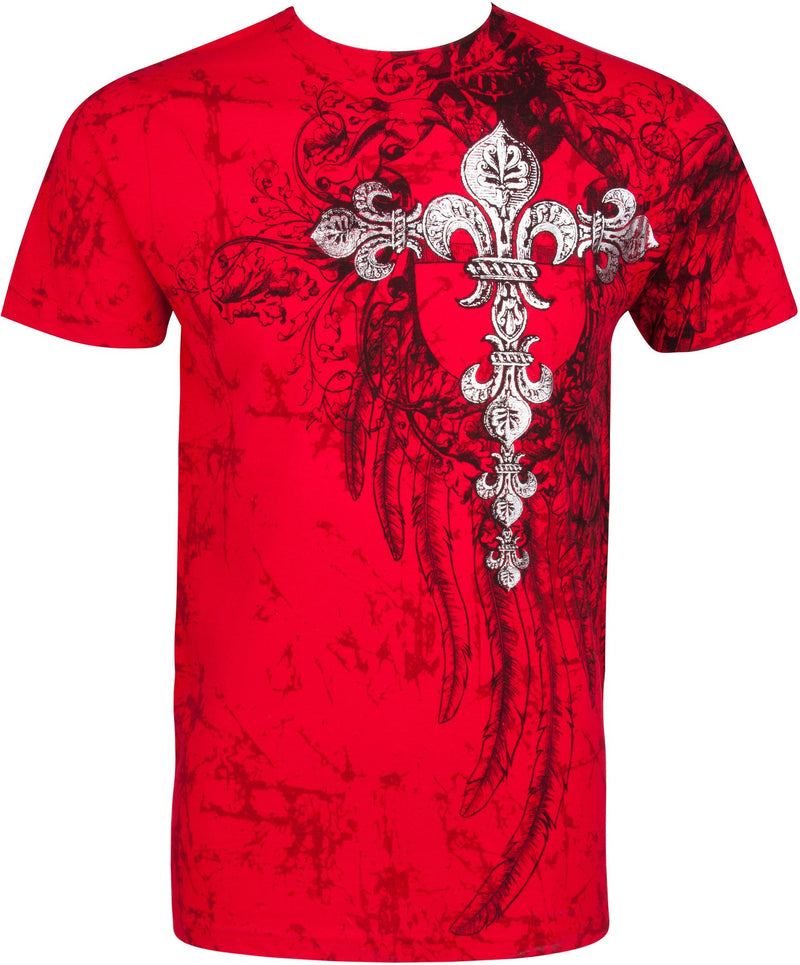 Sakkas Fleur De Lis Cross Metallic Silver Embossed Cotton Mens Fashion T-shirt