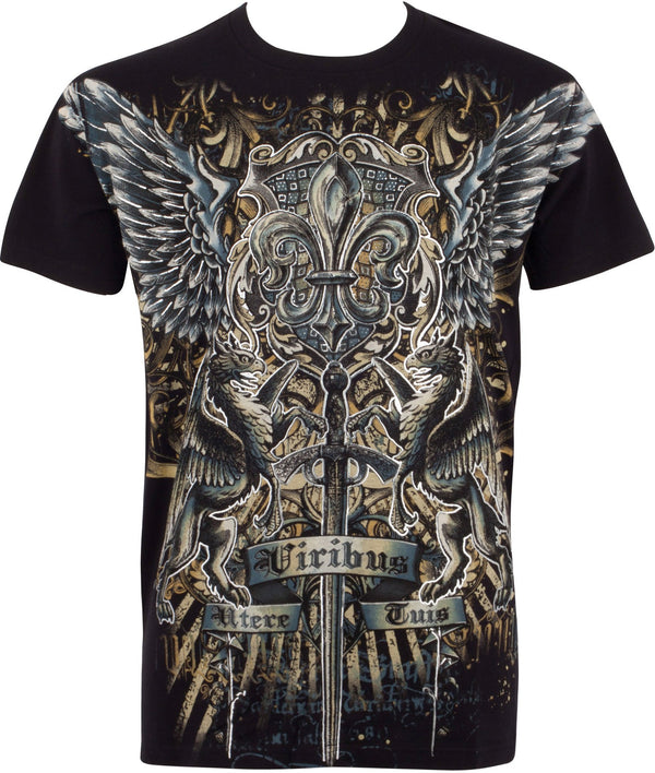 Sakkas Sword and Griffin Metallic Silver Embossed Cotton Mens Fashion T-shirt