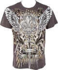 Sakkas Sword and Griffin Metallic Silver Embossed Cotton Mens Fashion T-shirt#color_Charcoal
