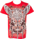 Sakkas Sword and Griffin Metallic Silver Embossed Cotton Mens Fashion T-shirt#color_Red