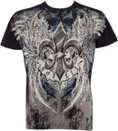 Sakkas Royalty Fleur de Lis Metallic Silver Embossed Cotton Mens Fashion T-Shirt