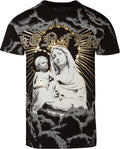 Sakkas Liam Mens Everyday Short Sleeve Cotton Embossed T-shirt Virgin & Baby Jesus#color_Black