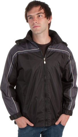 Adult Two-Tone Full-Zip Water-Resistant Hooded Windbreaker / Rain Jacket ( 2 Colors )