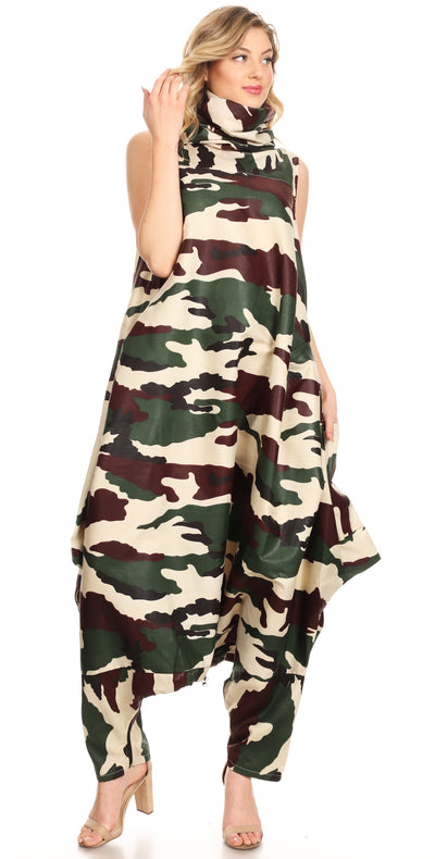group-135-GreenCamo (Sakkas Loa Women's African Ankara Print Maxi Harem Jumpsuit Dress Sleeveless)