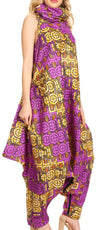 group-136-VioletYellow (Sakkas Loa Women's African Ankara Print Maxi Harem Jumpsuit Dress Sleeveless)