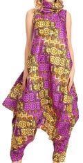 Sakkas Loa Women's African Ankara Print Maxi Harem Jumpsuit Dress Sleeveless#color_136-VioletYellow