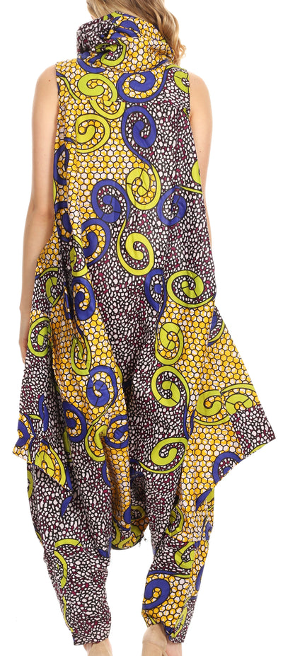 group-137-YellowMulti (Sakkas Loa Women's African Ankara Print Maxi Harem Jumpsuit Dress Sleeveless)