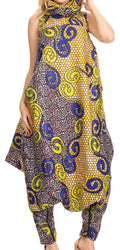 Sakkas Loa Women's African Ankara Print Maxi Harem Jumpsuit Dress Sleeveless#color_137-YellowMulti
