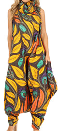 Sakkas Loa Women's African Ankara Print Maxi Harem Jumpsuit Dress Sleeveless#color_50-Multi