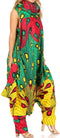 Sakkas Loa Women's African Ankara Print Maxi Harem Jumpsuit Dress Sleeveless