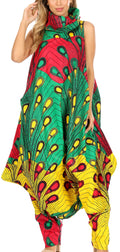 Sakkas Loa Women's African Ankara Print Maxi Harem Jumpsuit Dress Sleeveless#color_51-Multi
