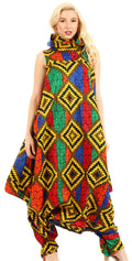 Sakkas Loa Women's African Ankara Print Maxi Harem Jumpsuit Dress Sleeveless#color_52-Multi