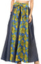 Sakkas Amarella Women's African Print Wide Leg Pants w/Pockets and Elastic Waist#color_115-BlueYellowMulti