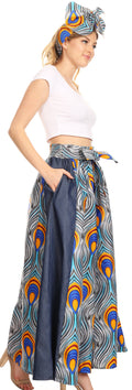 Sakkas Amarella Women's African Print Wide Leg Pants w/Pockets and Elastic Waist#color_133-GrayBlue