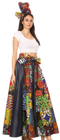 Sakkas Amarella Women's African Print Wide Leg Pants w/Pockets and Elastic Waist#color_144-Multi