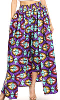 Sakkas Tasha Women's African Ankara Wax Capri Harem Pants w/Pockets & Overlay#color_126-PurpleAqua