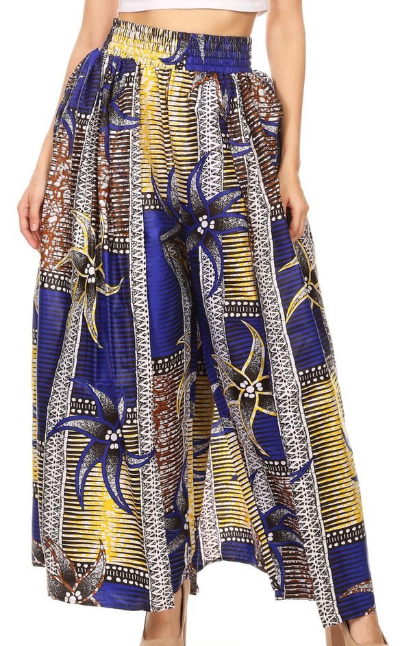 Sakkas Lanna Women's African Ankara Print Ankle Pants w/Pockets & Overlay Pull-up#color_118-RoyalYellowMulti