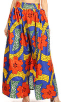 Sakkas Lanna Women's African Ankara Print Ankle Pants w/Pockets & Overlay Pull-up#color_130-RoyalMulti