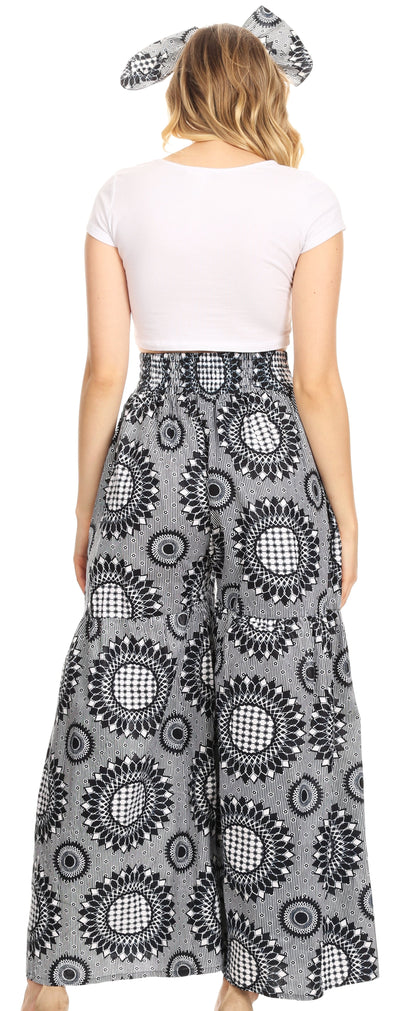 group-26-BlackWhite (Sakkas Esme Women's African Ankara Flared Wide Leg Palazzo Pants with Pockets)