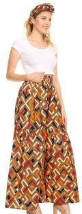 Sakkas Esme Women's African Ankara Flared Wide Leg Palazzo Pants with Pockets#color_27-Multi