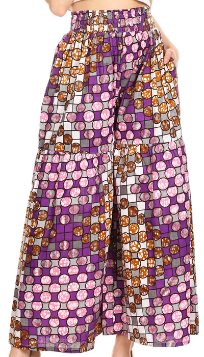 group-39-WhiteMulti (Sakkas Esme Women's African Ankara Flared Wide Leg Palazzo Pants with Pockets)