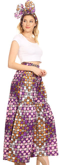 Sakkas Esme Women's African Ankara Flared Wide Leg Palazzo Pants with Pockets#color_39-WhiteMulti
