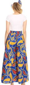 group-44-BlueYellow (Sakkas Esme Women's African Ankara Flared Wide Leg Palazzo Pants with Pockets)
