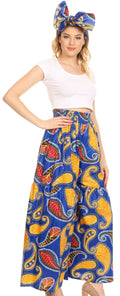 Sakkas Esme Women's African Ankara Flared Wide Leg Palazzo Pants with Pockets#color_44-BlueYellow
