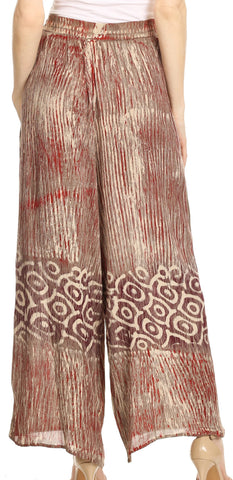 Sakkas Julia Batik Palazzo Wide Leg Pants with Elastic Waistband