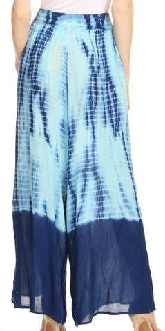 Sakkas Aline Tie-dye Wide-leg Palazzo Pants with Adjustable Waistband