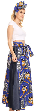 Sakkas Anisa African Wax Print Ankara Dutch Wide Leg Pants with Elastic Waist#color_19-BlueMulti