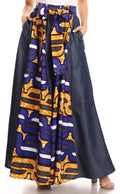 Sakkas Anisa African Wax Print Ankara Dutch Wide Leg Pants with Elastic Waist#color_418-Chambray-Blue/yellow