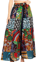 Sakkas Anisa African Wax Print Ankara Dutch Wide Leg Pants with Elastic Waist