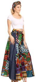 Sakkas Anisa African Wax Print Ankara Dutch Wide Leg Pants with Elastic Waist#color_421-Multi
